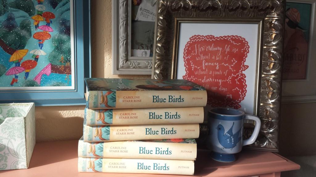 blue birds on shelf